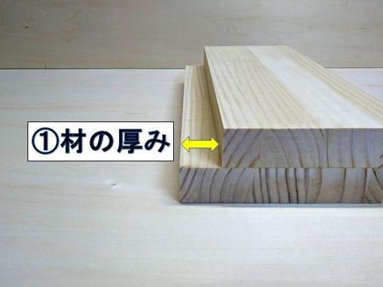 ①材の厚みずらす