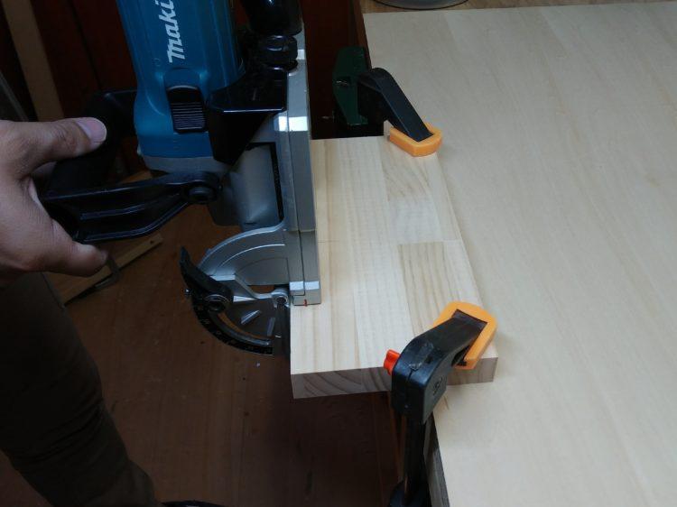②材の平面に溝加工
