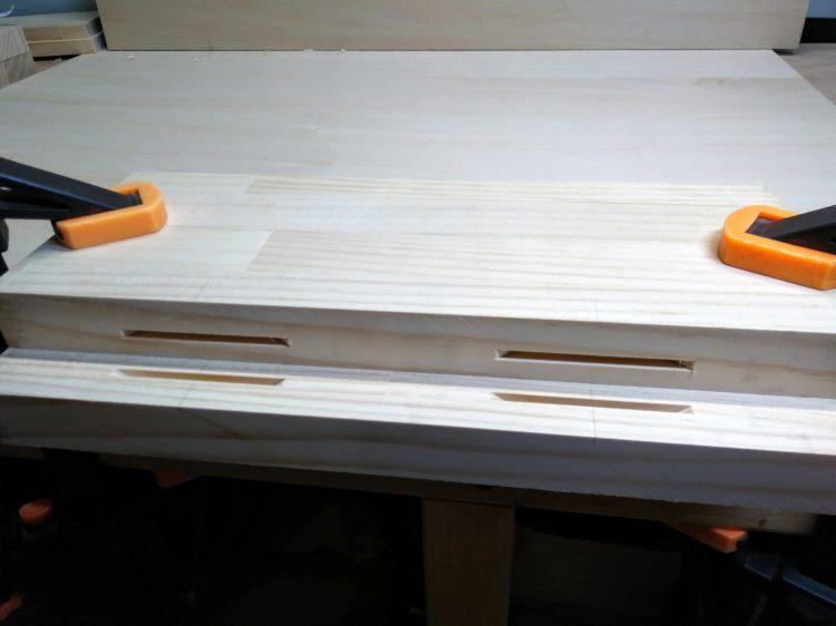 ②材の平面に溝加工完了