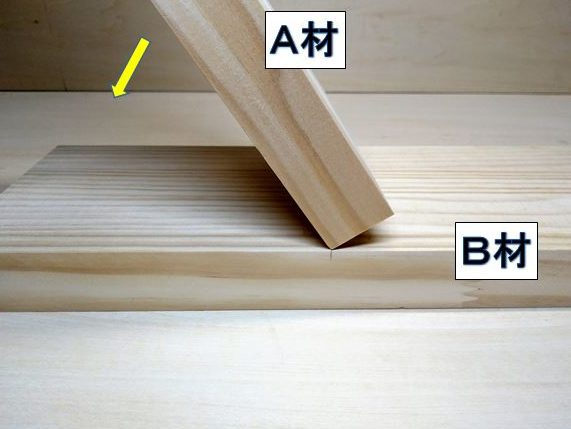 A材基準面とB材接合側平面を合わせる