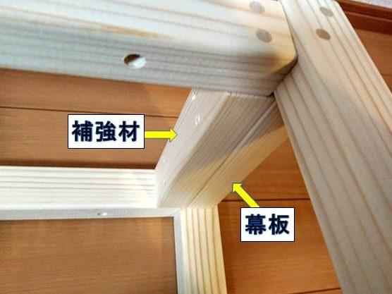 幕板と補強材の下端が面になる