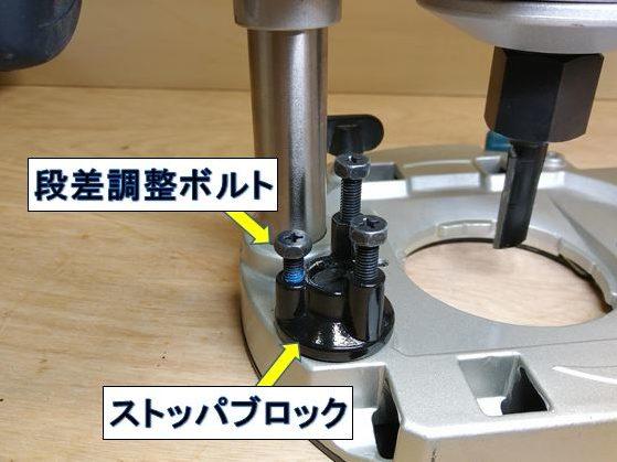 3つの段差調整ボルト