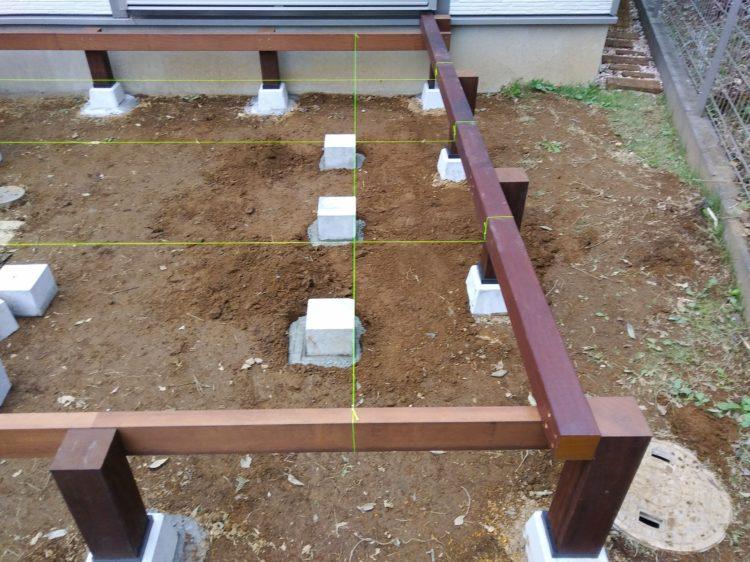 一列目のコンクリートピンコロを設置