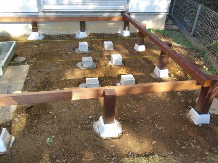 2列目のコンクリートピンコロを設置