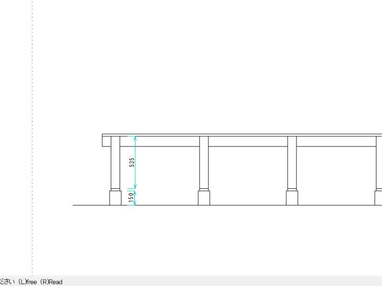 束柱の長さ(CAD図面)