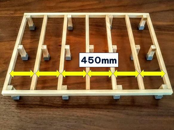 450mm間隔で根太を設置