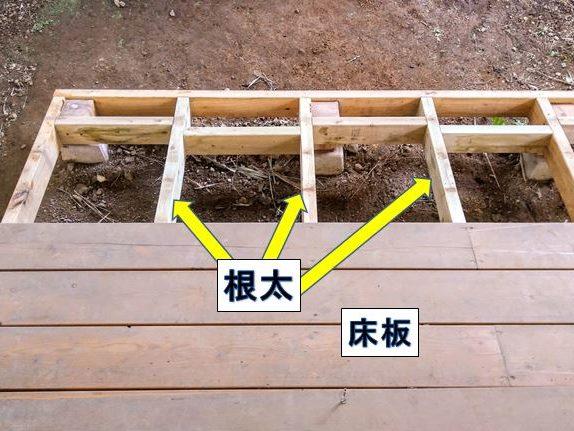 2×4材を根太に使用したウッドデッキ