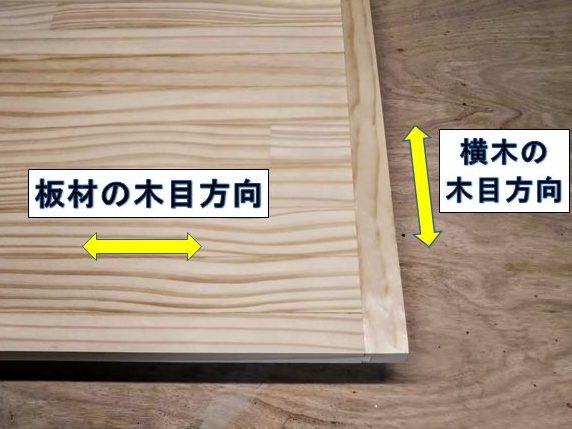 板材と横木の木目方向