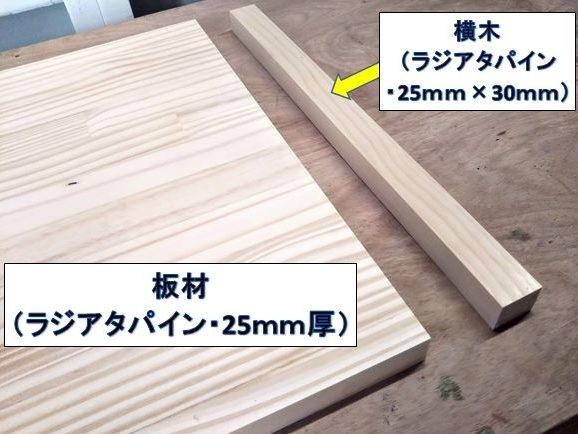 加工する板材と横木