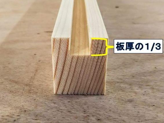 板材厚みの1/3の深さまで溝をほる