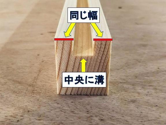 横木中央に溝が来るように加工する