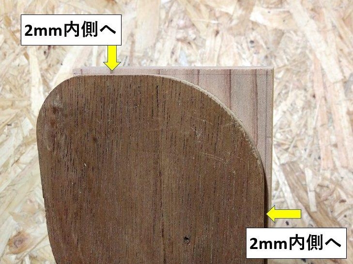 2mm内側へ型板を固定
