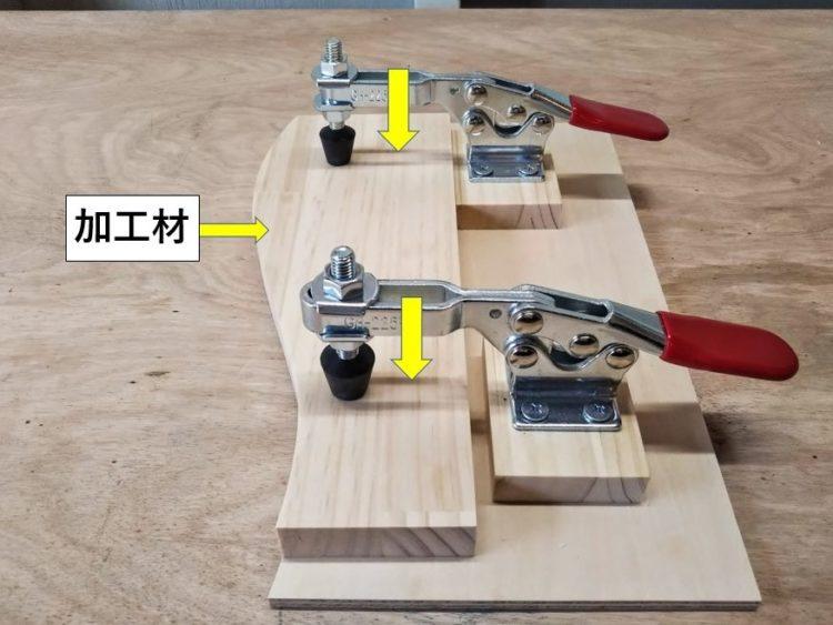 加工材を型板に押し付け固定