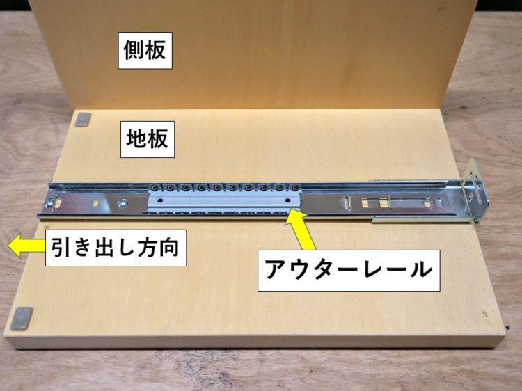 地板にアウターレールを取り付け(解説の為、片側の側板・背板を省略しています)