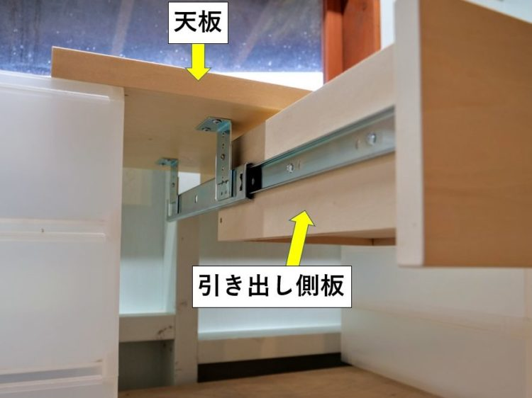 上吊りタイプのスライドレール使用例