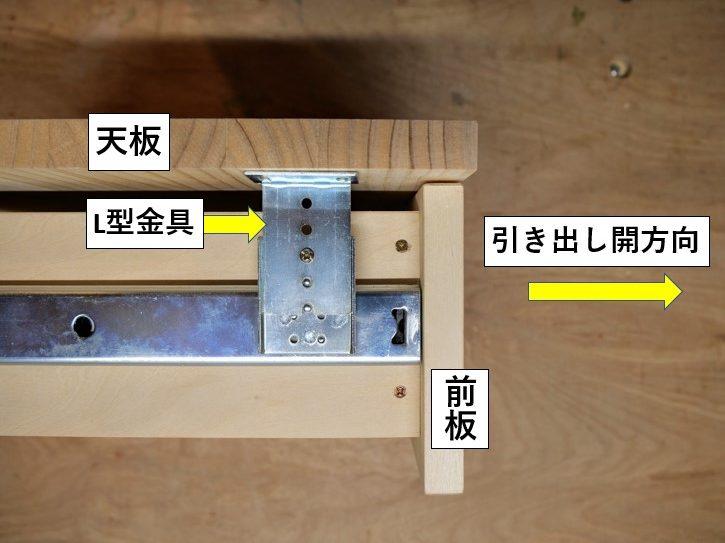 吊りタイプ・スライドレールの取付例(側面写真)