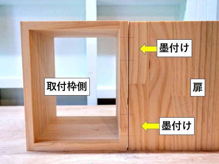 扉内側と側板木端面に墨付け