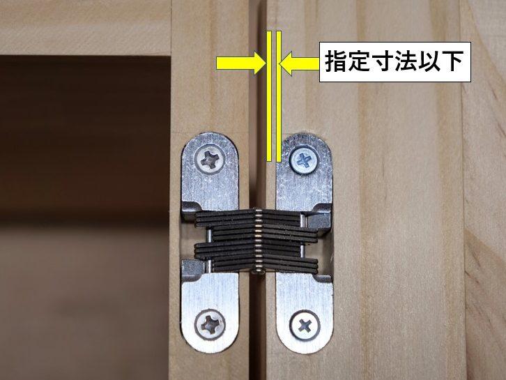 丁番内側と扉端・側板端までは指定寸法以下にする