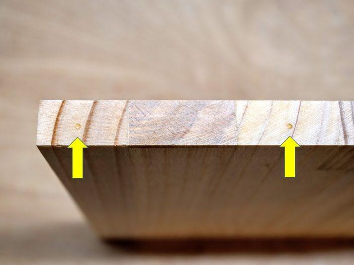 側板木口面にダボマーカーの印がつく