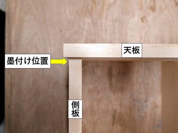側板の外側に切削位置の墨付けをする