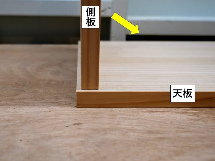 側板を天板に向かって内側に倒し込む