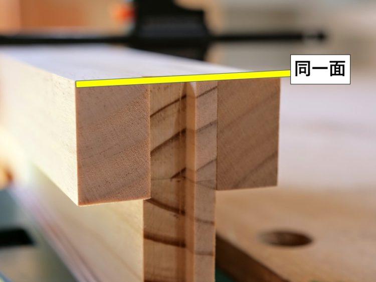 ②材木端面と当て木上面は同一面にする