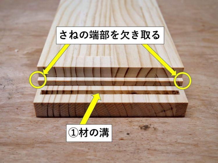 ①材の溝長さに合わせて②材のさね端部を欠き取る