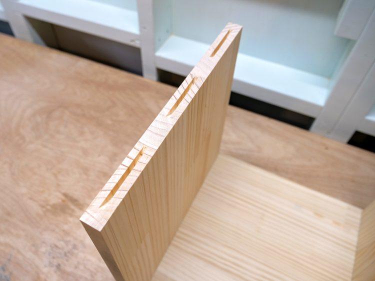 側板木口面に溝加工