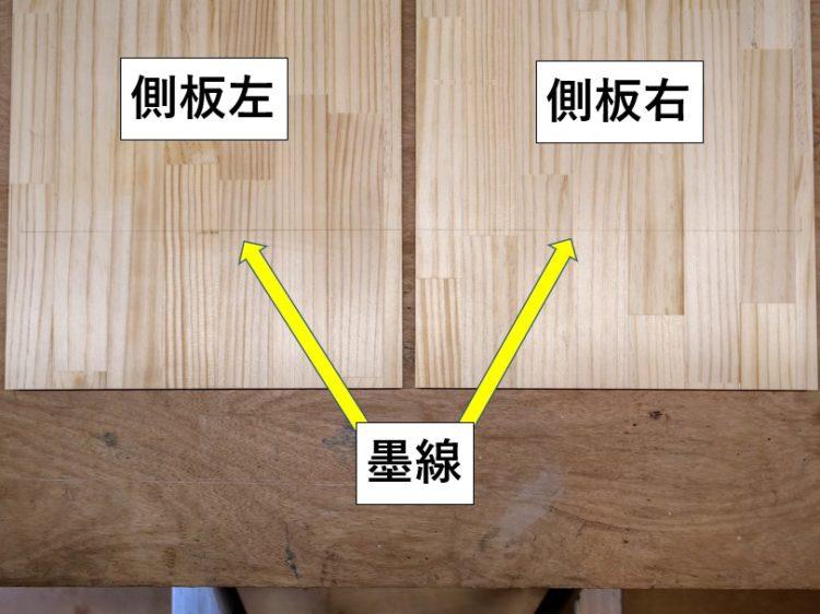 左右側板同じ高さに墨線を引く