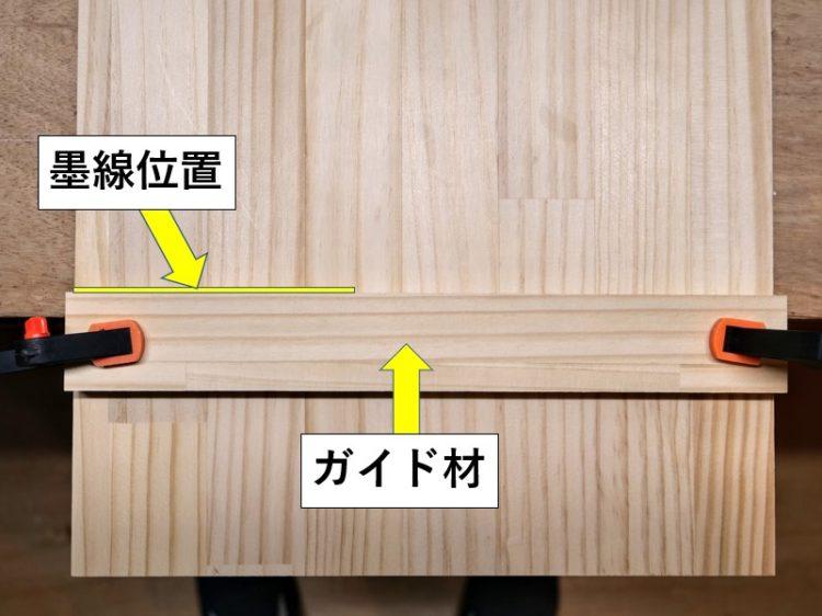 墨線位置に合わせガイド材を固定
