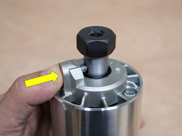 シャフトロックを横穴に押し込んだ状態(シャフト固定)