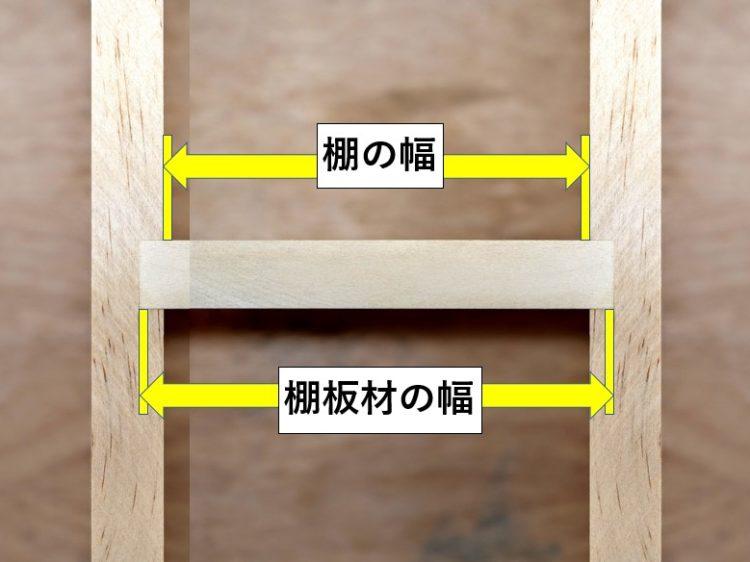 棚の幅と棚板材の幅寸法の違い