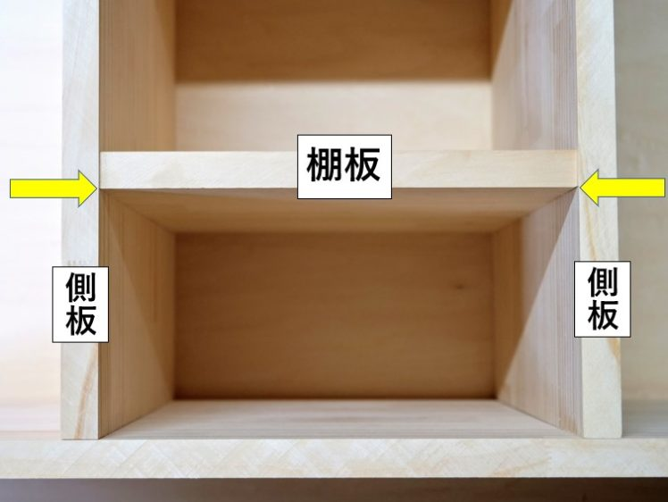 棚板下端面の位置へ墨線を引く