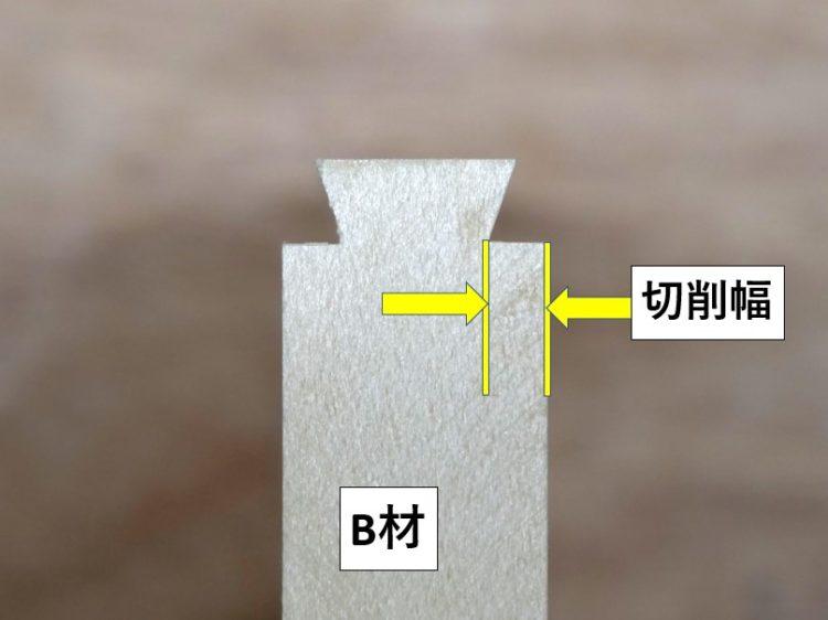 B材木端面・あり形の切削幅