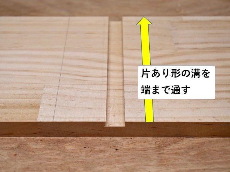 片あり形の溝を端まで切削