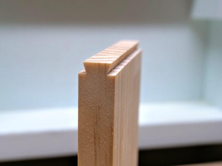 棚板端部をあり形に加工