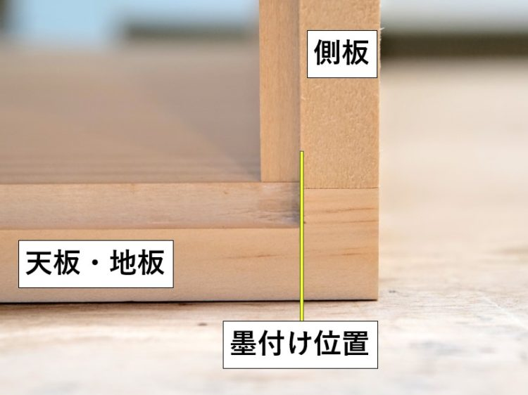 天板・地板切削範囲の墨付け位置