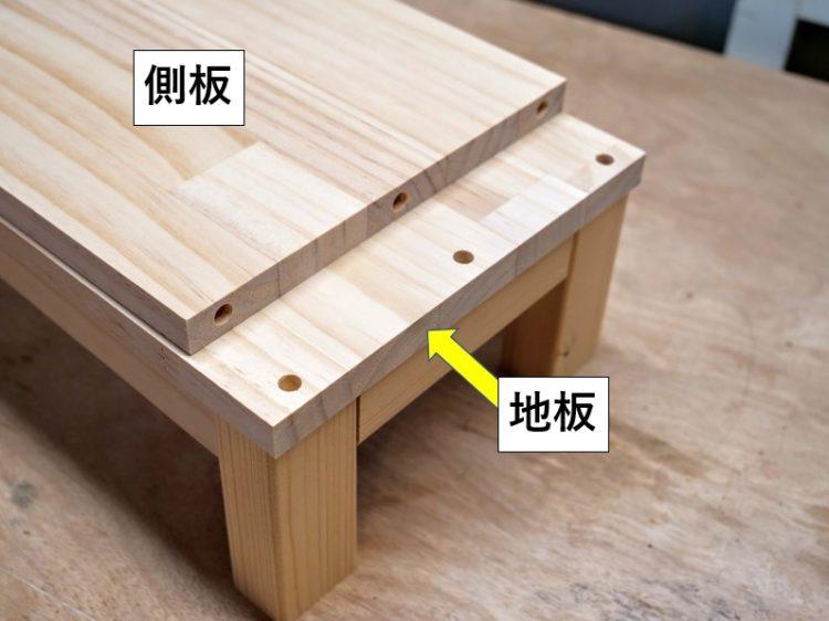 地板と側板・中仕切り板の木口にダボ穴をあける