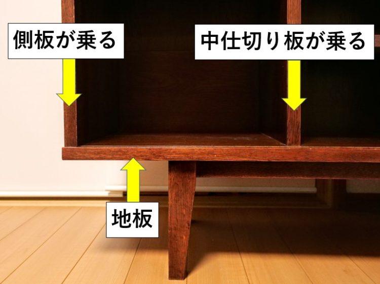 地板に側板・中仕切り板が乗る接合
