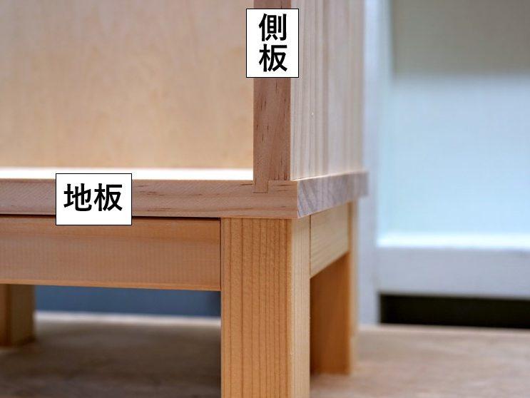 片胴付き追い入れ接ぎによる地板と側板・中仕切り板の接合