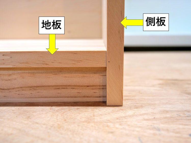 地板が側板に挟まれる接合
