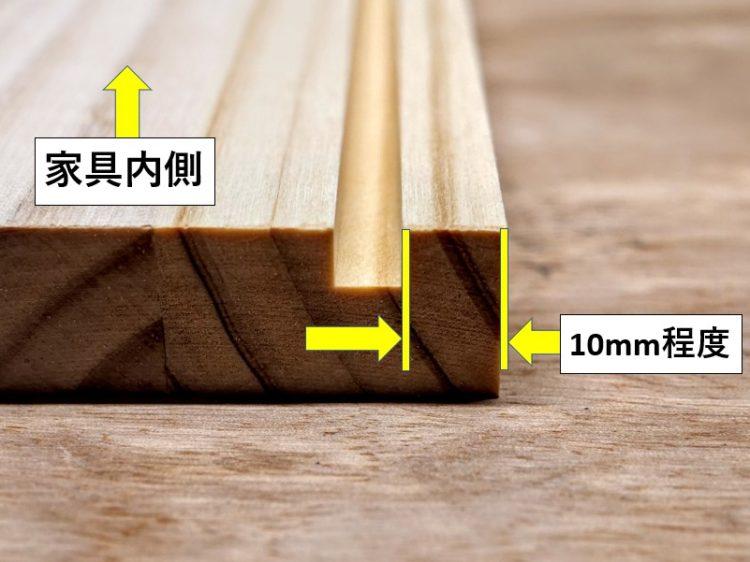 溝は木端面から10mm程度内側に切削する