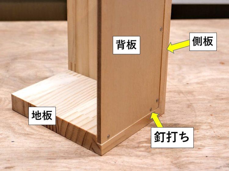 段欠きによる背板の収まり(断面図)