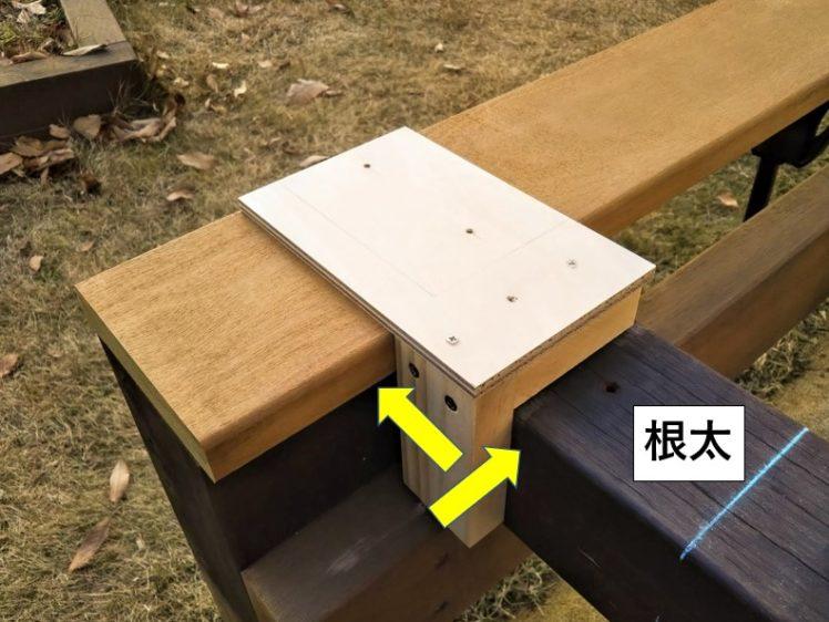 自作治具を根太と床板木端面に押し当てる