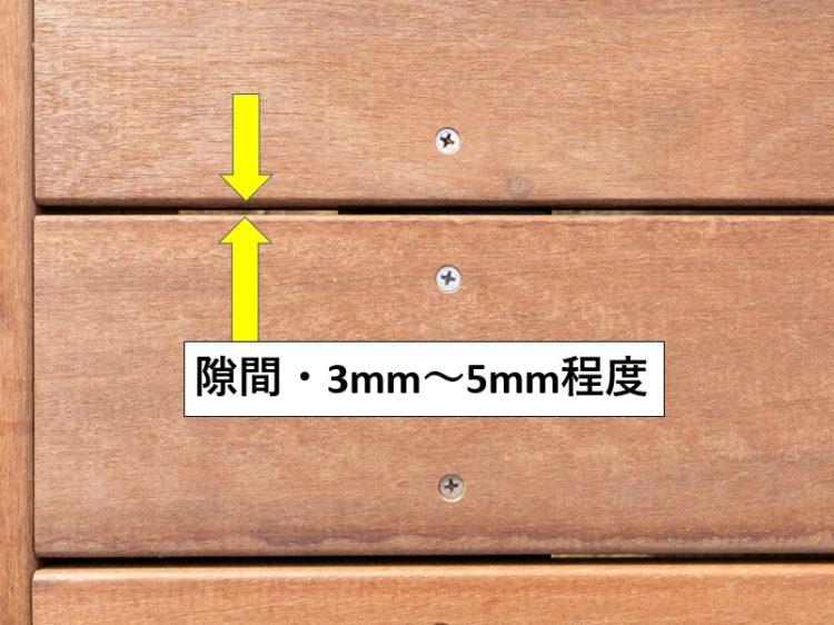 床板と床板の隙間・3mm~5mm程度