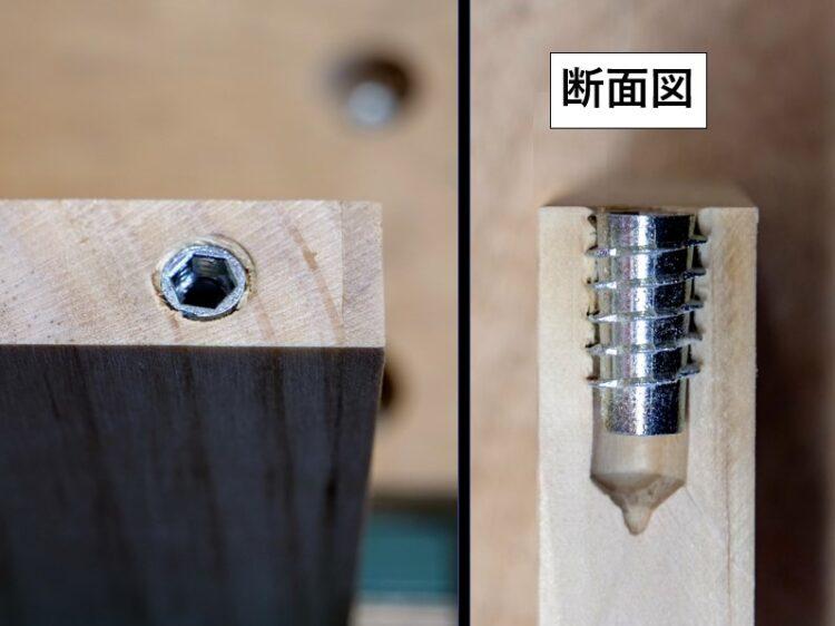 A材木口面とナット上端を揃える