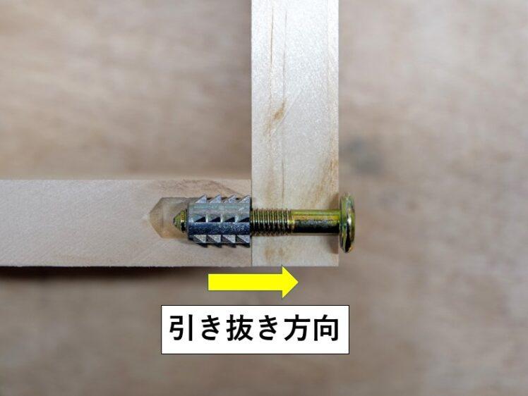 打ち込みタイプはねじ込みタイプに比べて引き抜き強度が弱い