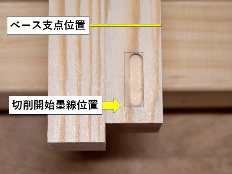 トリマーベースの支点位置と切削開始墨線位置