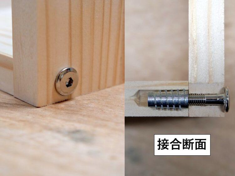 ジョイントコネクターボルトと鬼目ナットを使用した板材の接合