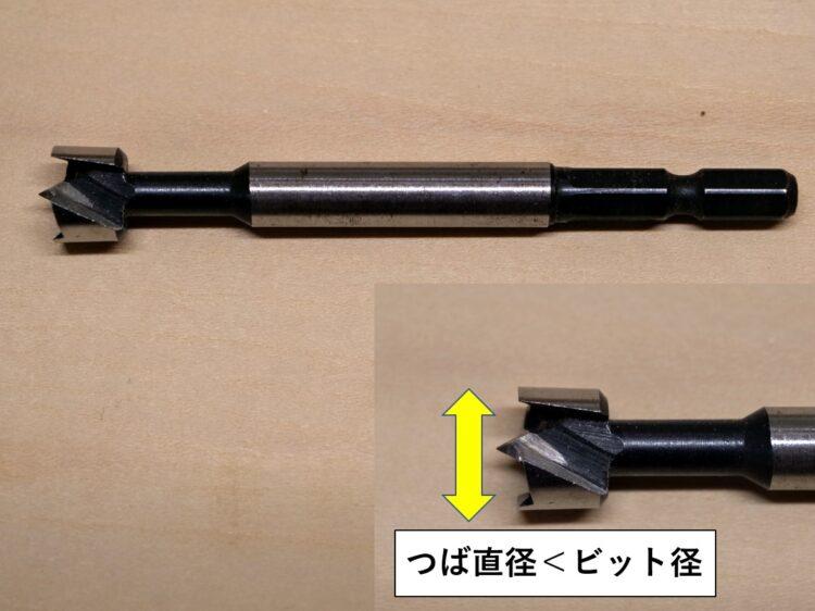 つば直径より大きいビット径のボアビットを使用
